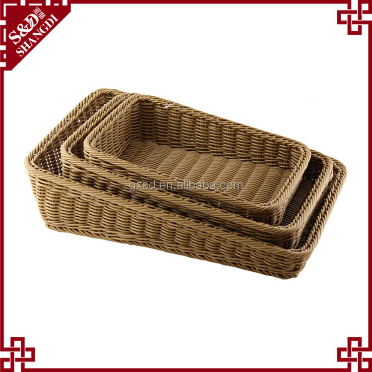 Multifunction rattan bread and fruit basket for supermarket display food
