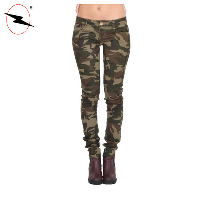 Skinny slim army military green camouflage women camo pants trousers