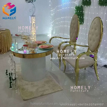 wedding Furniture hight Quality glass top round retangular marble top crystal wedding gold stainless steel cake table