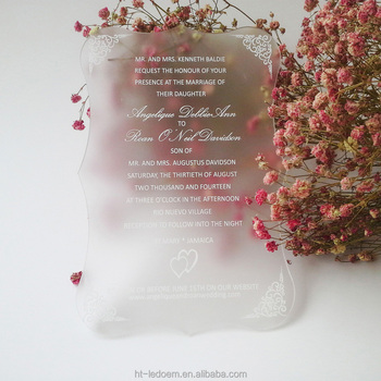 luxury frosted scroll shape 3mm thick acrylic 5*7inch printing letters Wedding invitation card(1lot=100pcs)