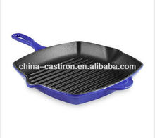 cast iron enamel square grill pan frying pan
