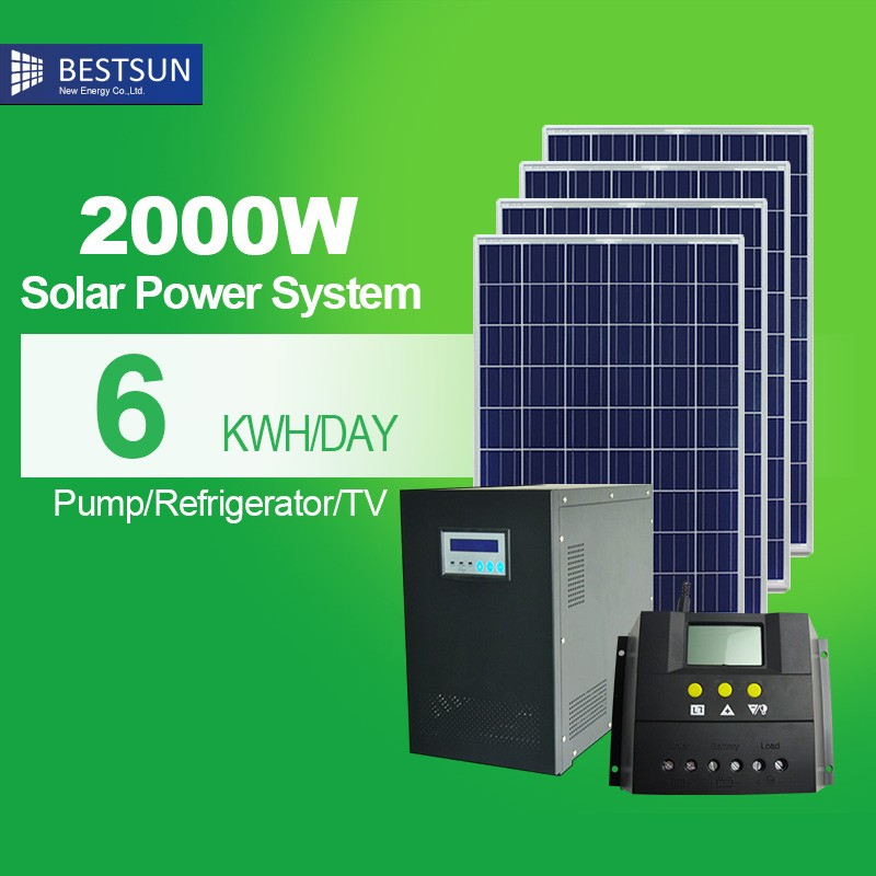 High power 2kw rooftop off grid complete home solarsystem with battery