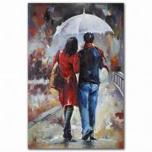 Best price abstract romantic sexy couple man and woman walk oil painting on canvas
