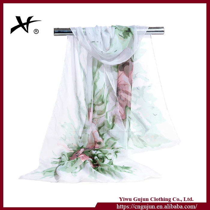 Chiffon Silk Scarf 2017 Female Beautiful Flower Scarves Fashion Long Shawls Summer Sunscreen Wraps