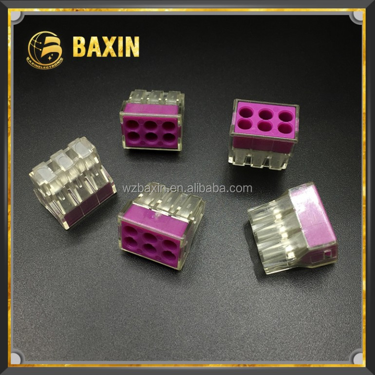 Transparent housing 6conductor terminal block with purple cover 6way fast connector 773-106