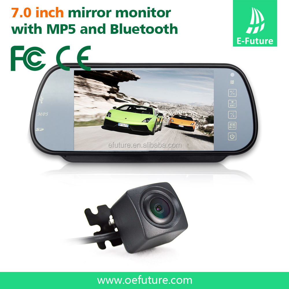 "7"" Security LCD Wide Screen Car Rear View Backup Parking Mirror Monitor + wireless camera"