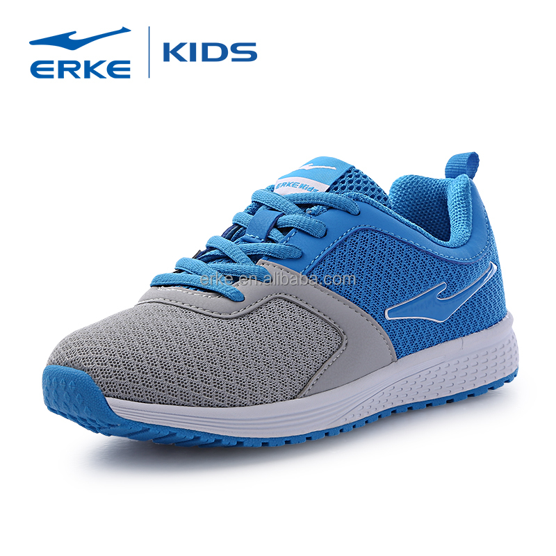 ERKE brand dropshipping lightweight breathable mesh ace up kids sports shoes wholesale