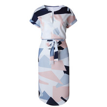 Elegant Women Summer Dress V Neck Beach Tunic Long Dresses Geometric Color Block Print Sexy Bohemian Sashes Vestidos