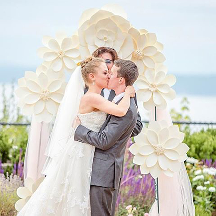 hot deals white big paper flowers wedding arches with flowers