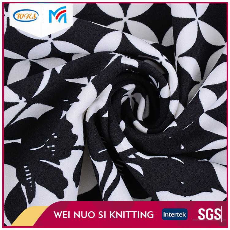 China supplier black and white printed polyester knitting fabric for garment