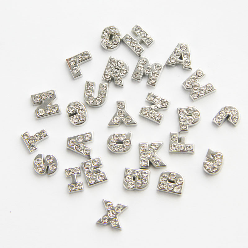Alloy Silver Crystal Letters Floating Locket <strong>Charm</strong>