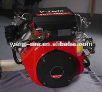YM2V91, shanghai yangma 2 cylinder v twin diesel engine 25hp air cooled vertical shaft (with gear box)