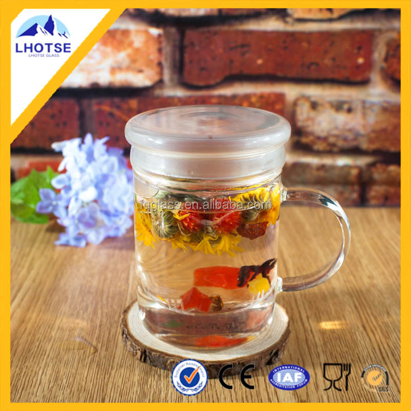 Promotional Gift Superior Quality Wholesale Handle Glass Tea Cup with Infuser