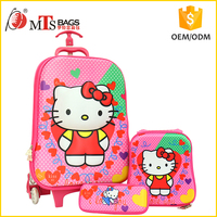 Guangzhou manufacturer 3D EVA 3PCS girls kid school trolley bag set with Hello Kitty picture