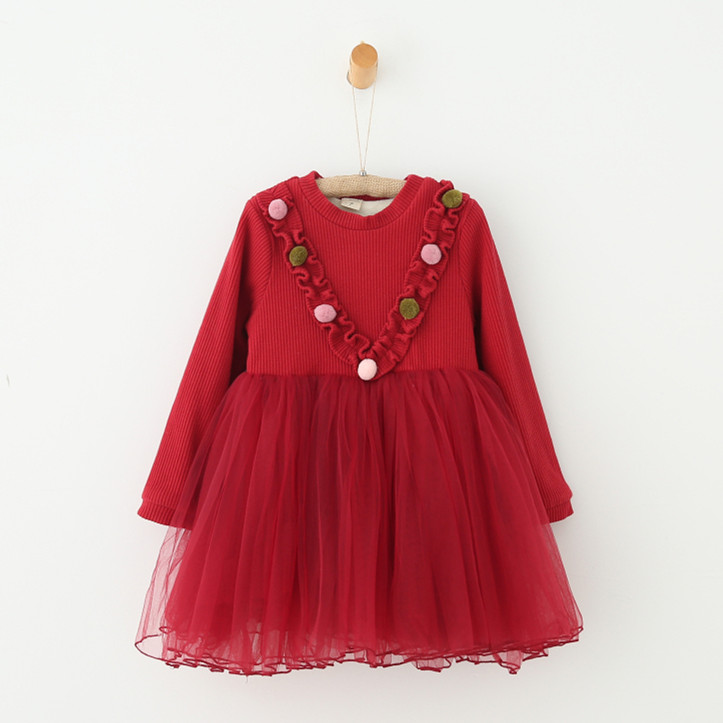 2016 Winter New Fashion Party Splicing Woolen Children Girl Dress <strong>1000</strong>