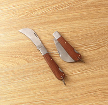 folding knife curve blade knife wood handle knife with button