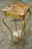 Honey and White Onyx Coffee Table with Brass Legs