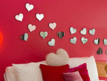 heart shaped hand mirror wall mirror with shutters glass mirror mosaic wall tile (B0074)