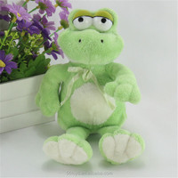 Factory good seller green stuffed frog toy cuddly stuffed frog with ribbon