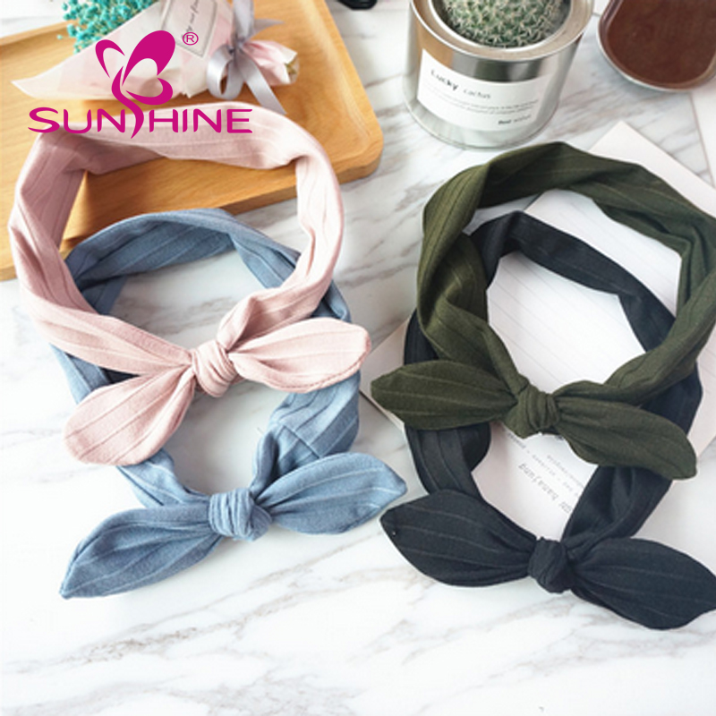 Korean Version Of The New Knot Rabbit Ears Wide Elastic Tie Back Headband