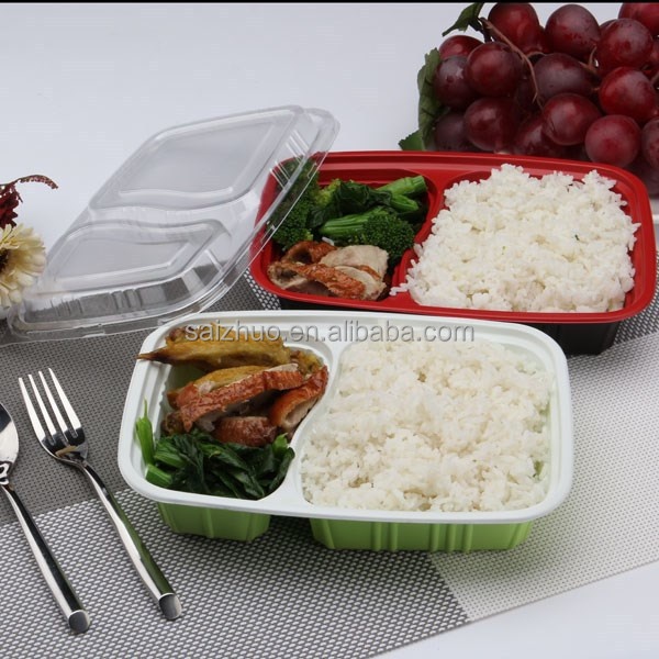 disposable rectangular 2 compartment microwave safe bento box plastic food container
