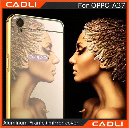 Luxury Glitter Bling aluminium frame Mirror phone case for Oppo A37 custom phone case android phone case for oppo A37