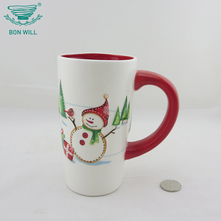 Custom size round shape christmas hand painted coffee travel mug for sublimation
