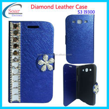 lether case for galaxy s3 Diamond design wallet cover