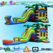 Dry palm tree commercial cheap inflatable bouncers combo with water slides for sale