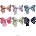 Simple Style Silver Print Ribbon Bows with Alligator Clip HBW-1701092