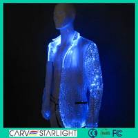 Lighting 7 color changeable optic fiber fabric mens jacket