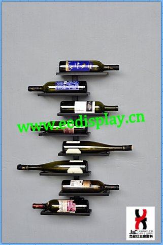 wall hanging ornamental wine rack/metal liquor wine display/wall mounted wine holder rack for supermarket promotion retail