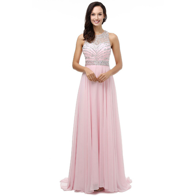 BR003 Vestido de Festa Longo Long Evening Dresses Crystal Beading 2018 Floor Length Cheap Evening Party Dresses Bridesmaid Dress
