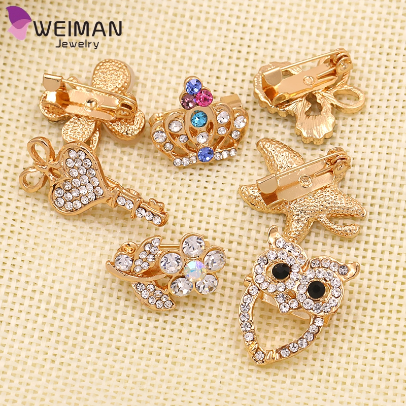 Korean Brooches Pin Fashion Crystal Rhinestone Baby Brooch for Cloth Garment
