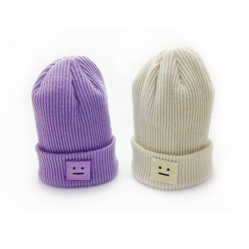 2015 Fashion Women's Hats Winter Fall with Box Smile Winter Monochromatic Warm Knit Cap of Crude Stick Black Solid Beanie Gorros