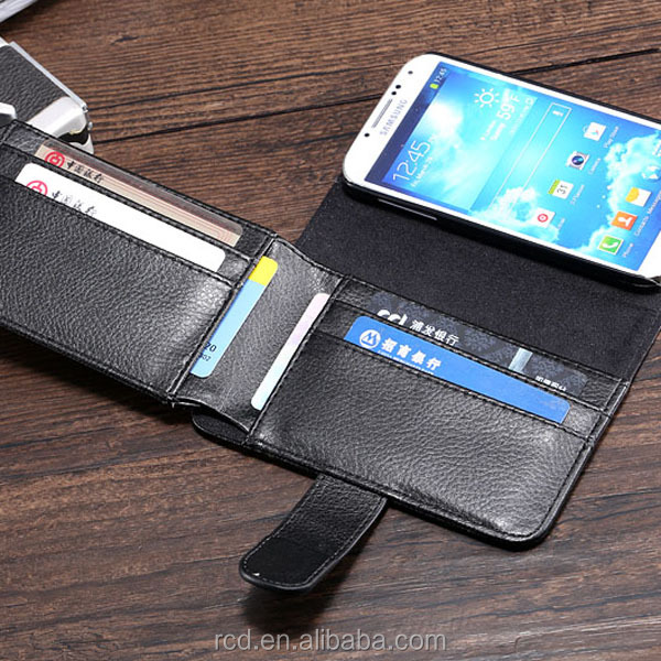 Fashion Big Black Wallet PU Leather Money Clip Case Flip Cover for Samsung Galaxy S4 I9500 Smartphone RCD03784