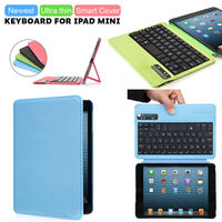 Ultra thin detachable wireless Bluetooth Keyboard for ipad mini with stand leather case cover