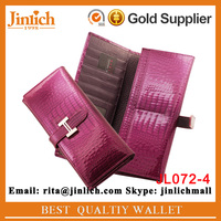 Cheapest lady beautiful wallet crocodile skin carteira feminina with photo holder