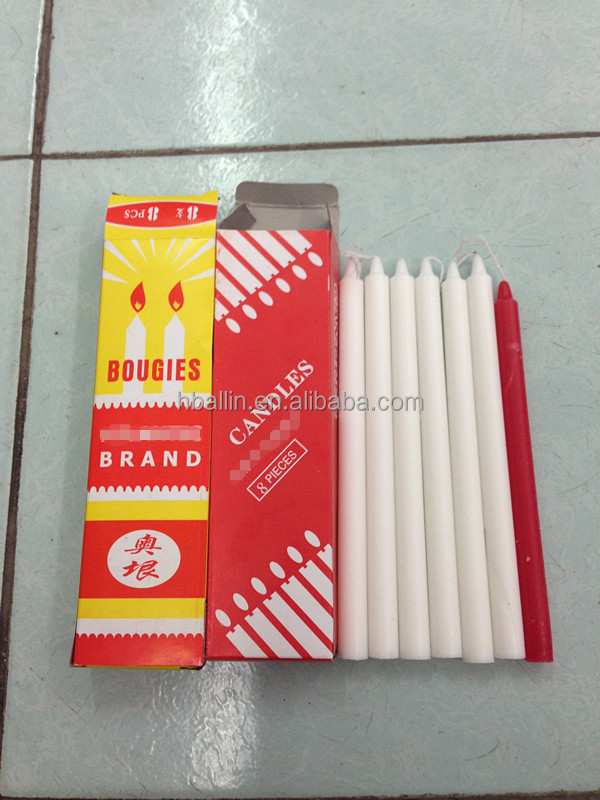 Factory supply 20g-23g boxing packing white candle for east Timor