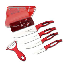5pc red handle Ceramic Knife with holder kitchen Set