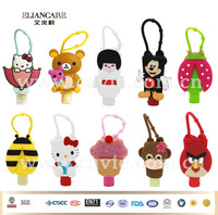 1OZ 29ml different types animals cartoon antibacterial alcohol free hand sanitizer gel with silicon holder