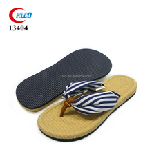 custom wholesale cotton fabric strap fancy straw flip flops