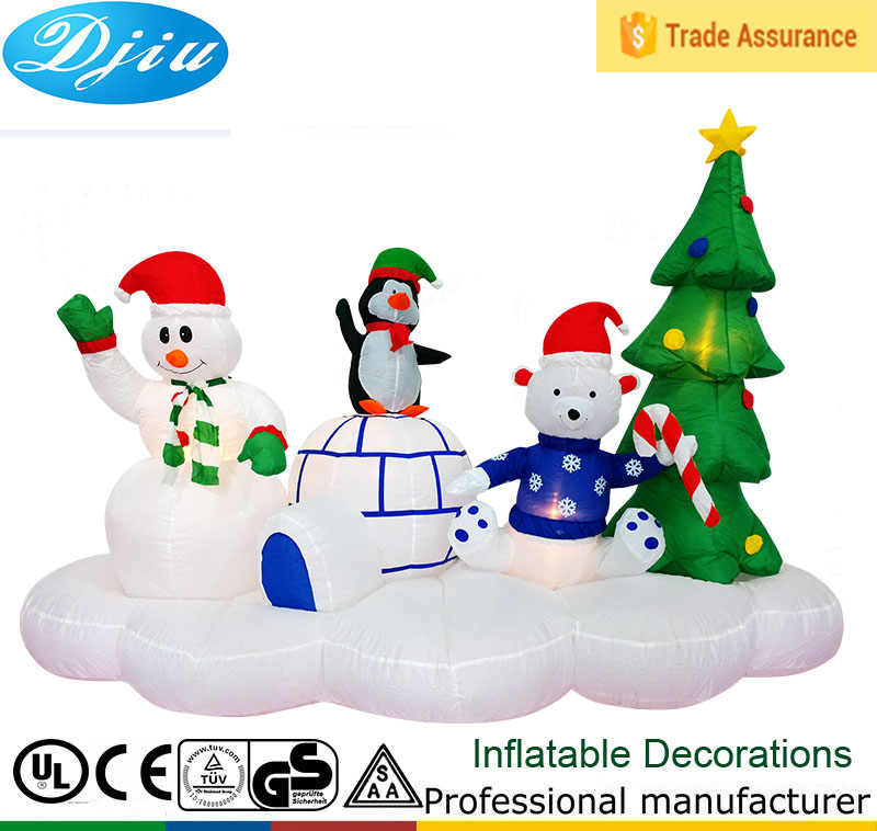 2017 new type snowman with the family chirstmas tree decoration Inflatable Snowman Family Outdoor Christmas