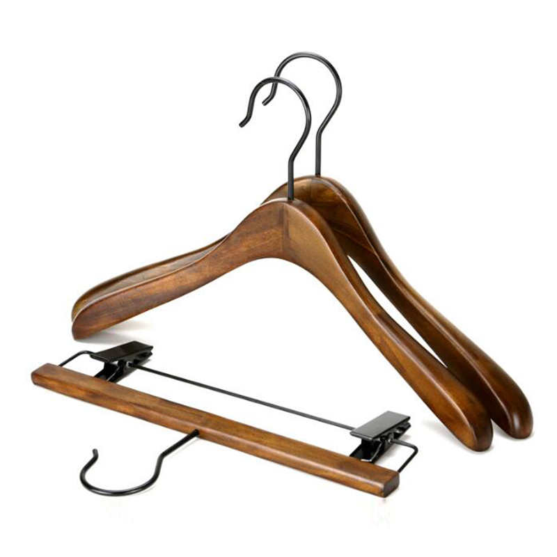 Antique Wooden Suit Hanger, Wooden Hanger Set for Clothes Shop