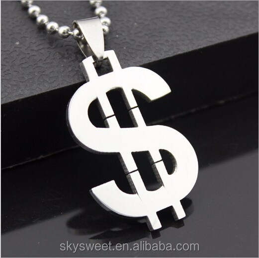 Personalized fashion pendant necklace,stainless steel dollar sign necklace(SWTPR572)