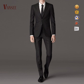 korea style blazer and pants 2 pieces mens slim fit black business ...