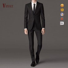 korea style mens slim fit black business suits