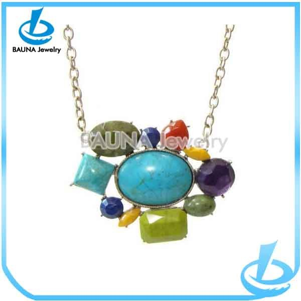Fashion beautiful statement with thin chain turquoise necklace natural
