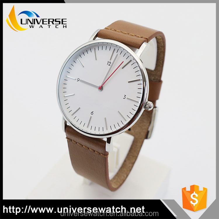OEM luxury, classic & minimalistic stainless steel watch with Italian genuine leather strap