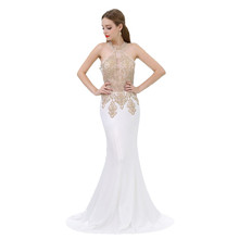 2018 Elegant White Long Evening Gowns With Gold Applique Mermaid Ladies Party Prom Dress